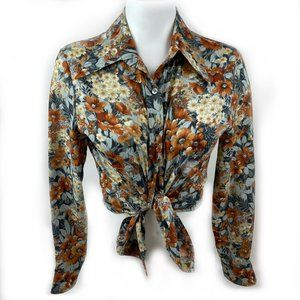 VINTAGE 1970s Polyester Flower Button Up Shirt